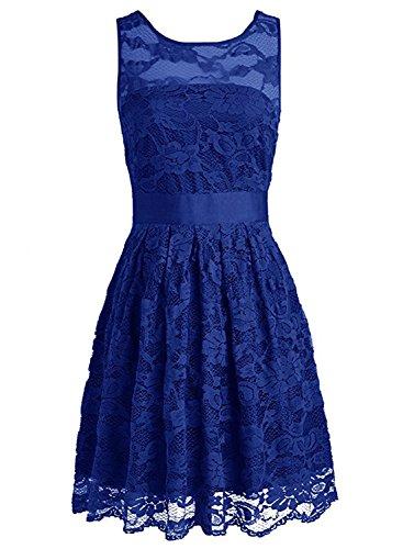 Azbro Women's Floral Lace Dress Bridesmaids Dress Short Prom Dress Royal Blue