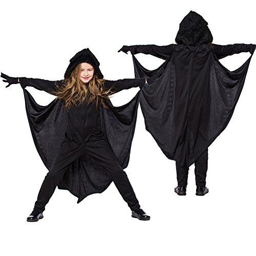 FairOnly Kinder Unisex Kreatives Tier-Design Batsuit Bühnenanzug Performance-Anzug Jumpsuit für Halloween, Black/L, - Batsuit Kostüm
