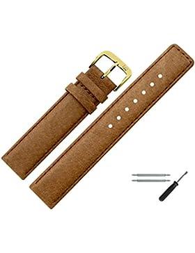 Uhrenarmband 12mm Leder Braun Naht - Inkl. Federstege / Werkzeug - Ersatzarmband Aus Echtem Schweinsleder Für...