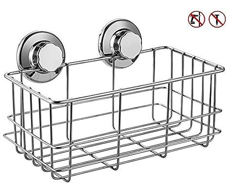 ARCCI Rustproof Suction Cups Deep Shower Caddy Stainless Steel Basket Storage Shampoo Rack, Bath Gel Holder Organizer Bathroom Kitchen 26.5 x 14 x 11.5cm