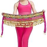 Calcifer alta calidad hecho a mano egipcio cintura cadena cinturón de danza del vientre cadera bufanda falda cintura con 248monedas, Rosa roja