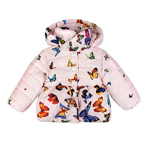 Loveble Baby Mädchen Schmetterling Drucken Baumwolle Unten Snowsuit Jacke Für 0-24 Monate (Satin Asiatischen Hut)