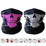 2 piezas, pasamontañas, con diseño de calavera, bandana protectora de suave poliéster, bufanda tipo tubo, de cuello, para motocicleta., mujer, Black&Pink