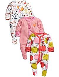 next Bebé Niña Paquete De Tres Pijamas De Una Pieza Peleles De Algodón Estampados Varios (0 Meses-2 Años)