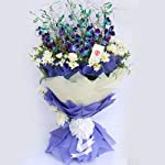 Gift on the go! Majestic Orchids Fresh Flower Bouquet, Purple and White