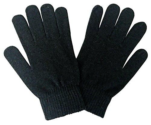 Herren Winter Warm Dünn Leicht Gestrickt Magic Thermo Wolle Handschuhe für Kalt Wetter (One Size, Wg Black) (Herren-magic-handschuhe)