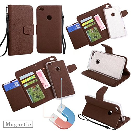 Abnehmbare 2 in 1 Premium PU + TPU Ledertasche geprägt Blumen Stil Glitzer Sparkles Brieftasche Stand Case Cover mit Kreditkarte Slots & Lanyard & Magnetic Closure für Huawei P8 LITE 2017 ( Color : Go Brown