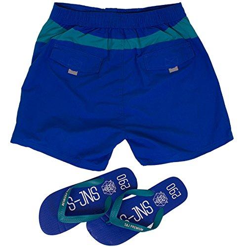 Smith & Jones Buoyant Boardshort Swimshorts & Flip Flops Bundle Set Blue