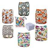 Adjustable Unisex Baby Pocket Cloth Nappies 3/4/6PCS + 3/4/6 PCS Inserts (6pcs-2)