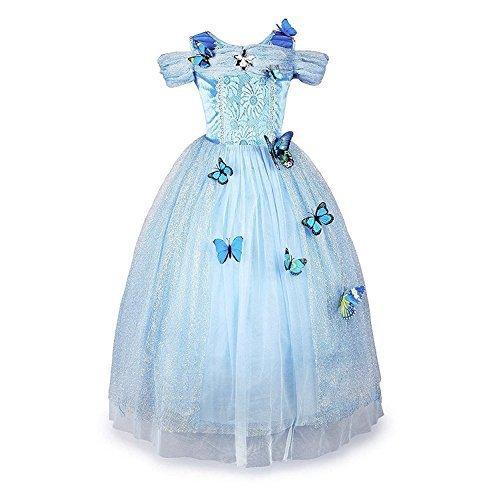 Disfraz de Cenicienta Disfraces de Carnaval Vestido de Niña Princesa Azul Claro 850