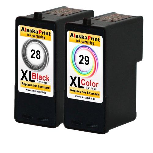 Premium 2er Set Kompatible Druckerpatronen Als Ersatz für Lexmark 28xl + 29xl für Lexmark Z1300 X5070 X5075 X5490 X5495 Z1300 X2500 Z1310 Z1320 Z1350 Z845 Patronen - 28 Lexmark Tintenpatrone