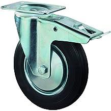 BS ruedas de transporte Rueda Giratoria Con Tope, atornillable, goma, rueda Acero de cuerpo, 100mm, Negro, l420.b55.101