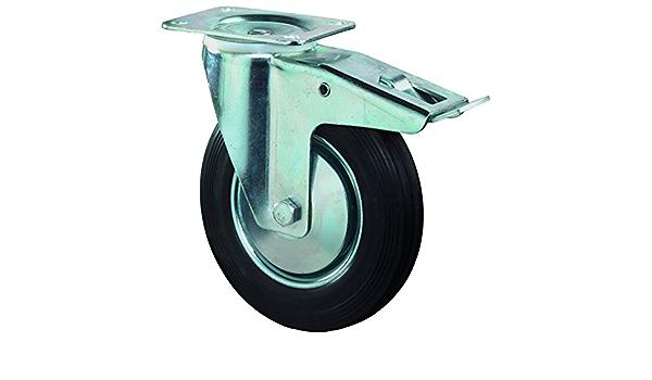 Bockrolle Radk/örper Stahl Anschraubplatte /Ø 80 mm Gummirad schwarz BS Rollen L410.B55.081 Transportrolle
