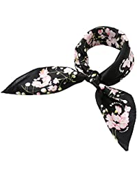 sourcingmap Women 100% Silk Floral Graphic Print Square Scarf 21 inches