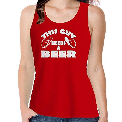 Snoogg Dieser Kerl Benötigt Bier Baumwolle Damen Mädchen Freizeit Westen Sleeveless Tank Tops Leibchen Beach Wear