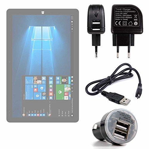 DURAGADGET Pack con Cargadores para Tablet Chuwi HiBook/HiBook Pro / Hi10 / Vi10 Ultimate / Vi7 / Hi12 - Incluye Cargador para El Coche + Cargador Europeo De Pared + Cable De Sincronización De Datos