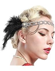 Babeyond Damen Stirnband für die Hochzeit Große Gatsby Stirnband Flapper Stirnband mit Feder
