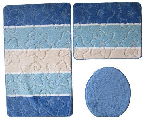 3- teilig Badgarnitur blau gestreift 80 x 50cm Badset Badematten Badteppich Hänge-WC