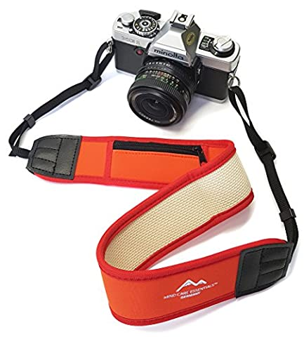 Breiter Neopren Kameragurt-Schultergurt in rot mit kleinem Reißverschlussfach Tragegurt Trageriemen Quick-strap für Canon Nikon Sony DSLR-Kameras // MIND-CARE-ESSENTIALS
