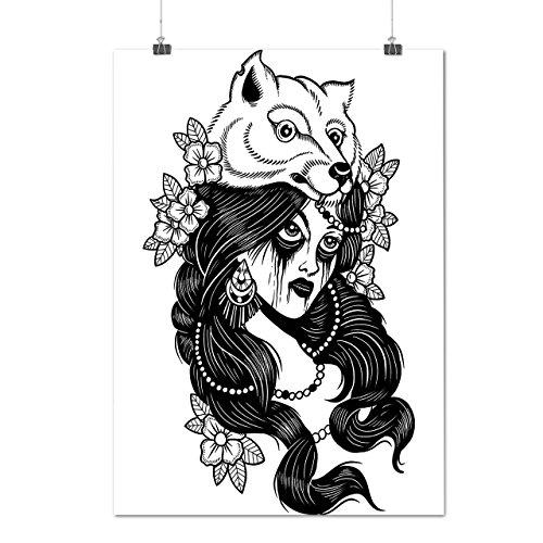 Stamm Mädchen Wolf Mode Verrückt Hut Mattes/Glänzende Plakat A3 (42cm x 30cm) | (Plus Größe Prinzessin Stammes Kostüm)