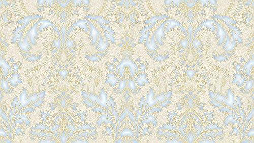 Vlies Tapete Barock Ornament creme gold blau metallic Hochwertig JC2008-2