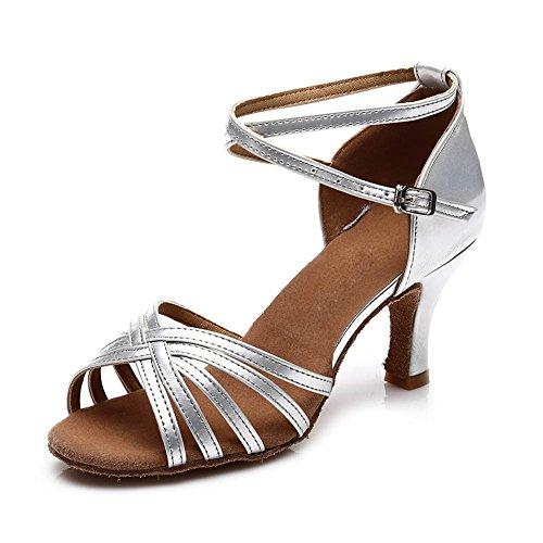 SWDZM Damen Ausgestelltes Tanzschuhe/Standard Latin Dance Schuhe Satin Ballsaal ModellD213-7 Silber EU38.5