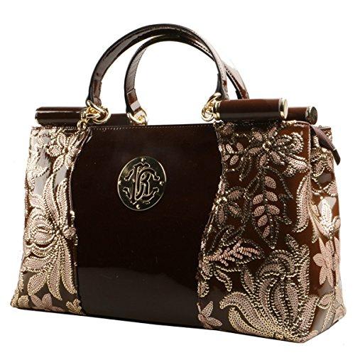 KAXIDY Lackleder Stickerei Spitze Handtasche Schultertasche Handtaschen Damentasche Tasche Henkeltasche (Rot) Kaffee
