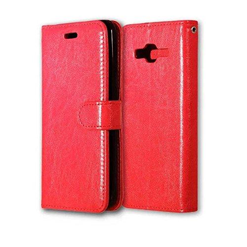 EKINHUI Case Cover Solid Color PU-Leder-Kasten mit Silikon-Abdeckung Magnetic Ständer-Fall-Abdeckung für Samsung-J3 2016 J320 J36 ( Color : Rose , Size : Samsung J3 2016 J320 J36 ) Red