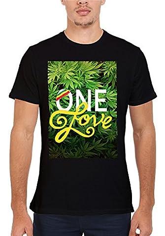 One Love Weed Rasta High Novelty Men Women Unisex Top T Shirt-M