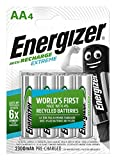 Energizer Rechargeable AA Batteries, Extreme Recharge Double AA, Pack of 4