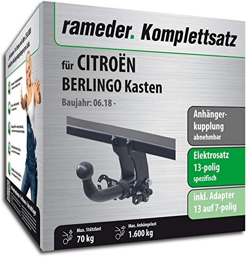 Rameder Komplettsatz, Anhängerkupplung abnehmbar + 13pol Elektrik für CITROËN BERLINGO Kasten (158125-39023-1)