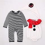 ALCST&CX Baby-Weihnachts-Outfits, 3-teiliges Set Weihnachtsjunge Mädchen Baby Schneemann Kleidung und Hut Overall