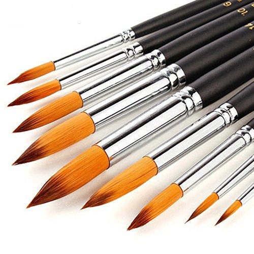 9 Stück Premium Nylon Pinsel für Aquarell, Acryfarben & ölfarben usw. Perfektes Pinsel Set für Anfänger, Kinder, Künstler und Gemälde Liebhaber