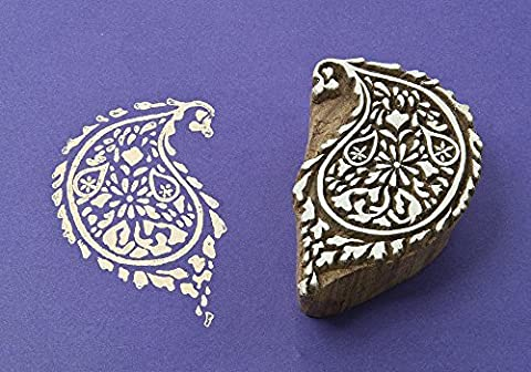 Blockwallah Curvy Paisley Wooden Block Stamp by Blockwallah