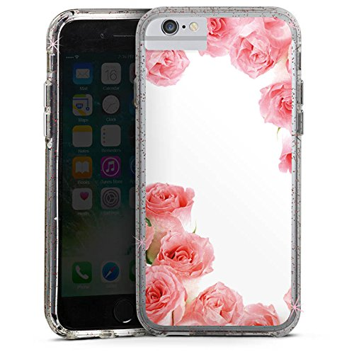 Apple iPhone 6 Plus Bumper Hülle Bumper Case Glitzer Hülle Rosen Roses Pink Bumper Case Glitzer rose gold