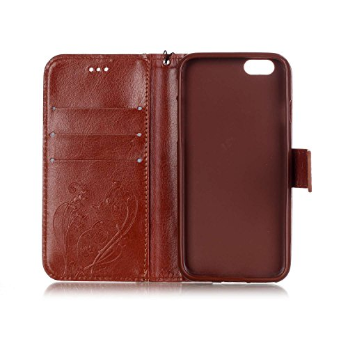 iPhone Case Cover Single Side Case motif en relief fleur en cuir PU, résine Case Rhinestone livre design Strap Case Pliable Wallet Stand pour Apple iPhone 7 ( Color : Rose Red , Size : Iphone 7G ) Brown