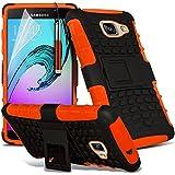 Gadget Giant® Orange - Samsung Galaxy A5 2016 (A510) Étui carapace antichoc résistant double épaisseur de très bonne qualité avec protection d'écran et stylet (Antichoc - Couverture - Rigide - Carapace - Robuste)