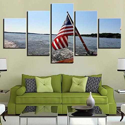 mmwin Leinwand HD Drucke Dekoration 5 Stücke Wandkunst Amerikanische Flagge Modulare Bilder Meer Landschaft Kunstwerk Landschaft Poster