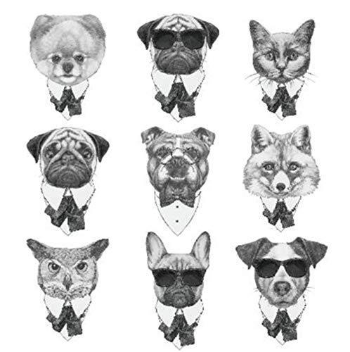Katze Hunde Rücken Kostüm Dem Auf - yyyDL Wasserdicht Temporäre Gefälschte Tätowierung Aufkleber Grau Hund Katze Fuchs Tiere Vintage Design Body Art Bilden Werkzeuge 10,5 * 6 cm 6 stücke