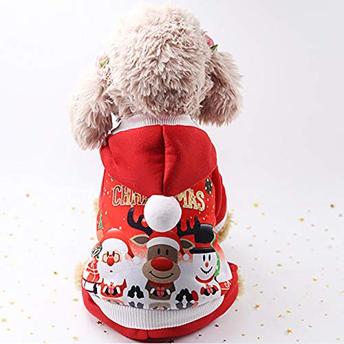 JFS Haustier-Weihnachtskleidung, Hundekatzen-Weihnachtsweihnachtsmann-Kostüm-Mit Einer Kappe-Warme - Klebeband Hunde Kostüm