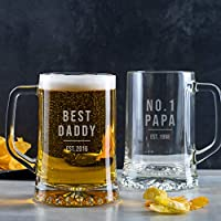 Personalised Dad Pint Glass/Personalised Daddy Gifts from Daughter/Personalised Birthday Gifts for Him/Fathers Day Gifts from Son/Best Papa Gifts/Number 1 Dad Gifts