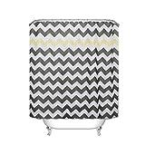 S-Chanson Tenda da doccia in tessuto con motivo stampato/Impermeabile/180x180cm/con 12 Ganci Antiruggine (Geometria)