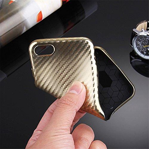 iPhone 6 Case TPU schwarze Carbon Optik Hülle –Silikon Schutzhülle Abstrakt Muster Design – MOVOJA – Carbon-Optik-schwarz Gold