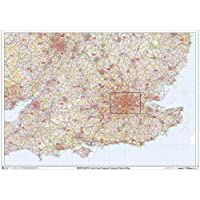 "South East England Postcode District Wall Map (D2) - 47"" x 33.25"" Laminated"