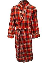 Lloyd Attree & Smith - robe de chambre légère 100% coton brossé - carreaux rouge / bleu / beige - homme
