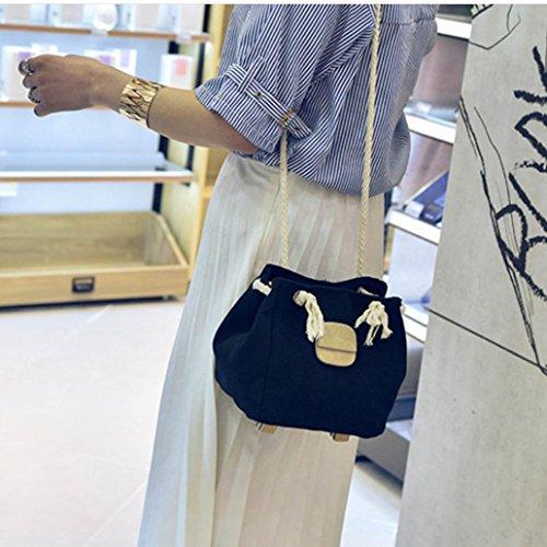 BZLine® Frauen Freizeit Sommer Leinwand Schulter Tasche Strand Taschen, 17cm(L)*15cm(W)*17cm(H) Schwarz