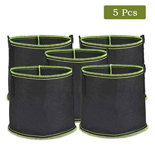 timesetl 5pack bag di piante non tessute galloni da 17,7 litri riutilizzabili sacchetto di coltivazione vegetale sacchetto di patate sacchetto di piante con manici per patate, pomodori e fragole