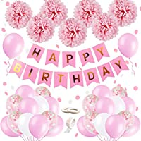 Birthday Decorations Girls, Happy Birthday Bunting Banner Balloons Set with Tissue Paper Pompoms and Pink Balloons for Girl Girlfriend Daughter Women 1st 2nd 3rd 16th 18th 21st 25 30th 50 60th