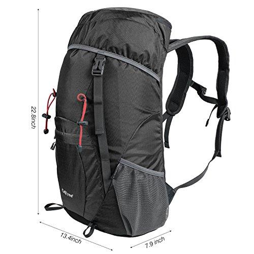 G4Free 40L Wasserdichter Ultraleicht Faltbarer Trekkingrucksack Daypack Damen Herren für Outdoor Wandern Camping Reisen A-Schwarz