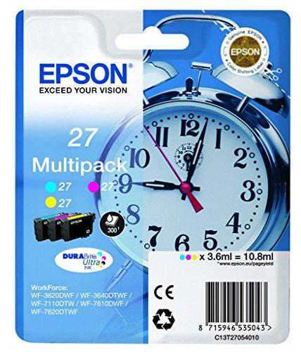 Epson Original T2705 Tintenpatrone Wecker, wisch- und wasserfeste Tinte (Multipack 3-farbig) (CYM) Epson Tinte Wf-3640